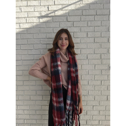 Navy and Burgandy Plaid Blanket Scarf