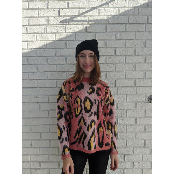 Bright Pink Animal Print Sweater