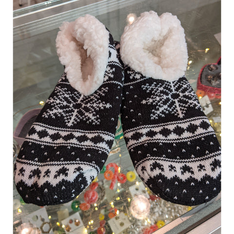 Black Christmas Slipper Socks