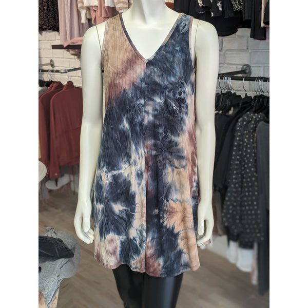 Taupe Tie Dye Swing Dress