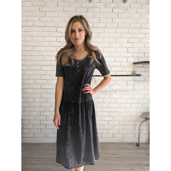 Drop Waist Black Acid Wash Dress