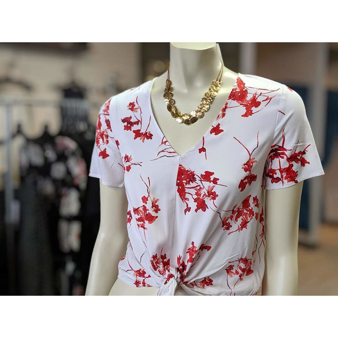 White and Red Floral T-shirt