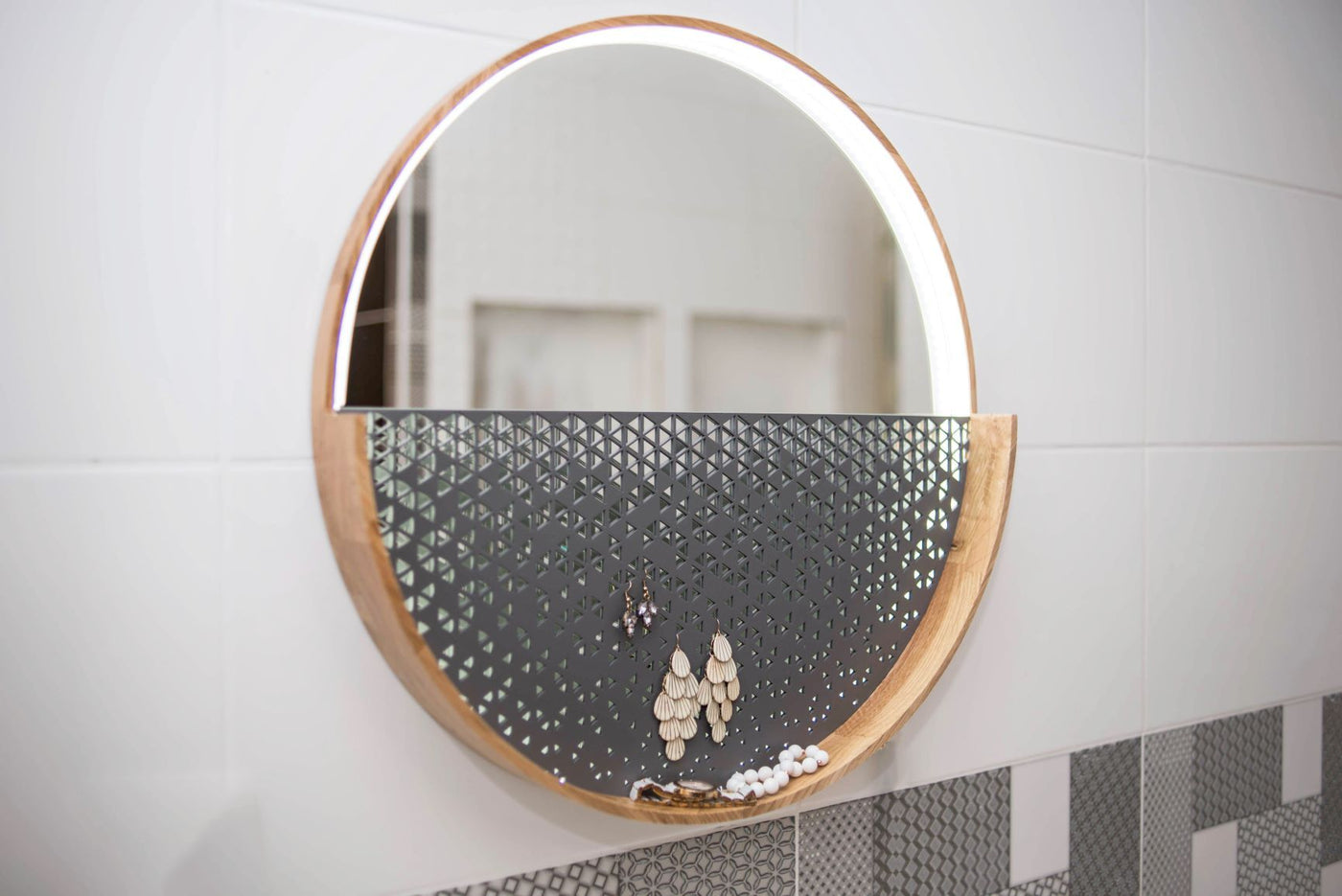 Wooden round makeup mirrors with light. Adjustable light brightness