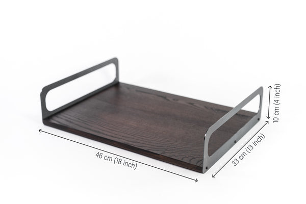 serving tray with grey metal sides