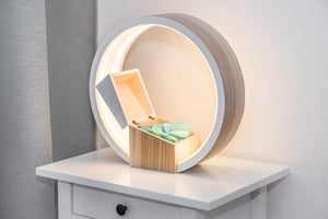 Wood Lamp Bedside table Lamp with Jewelry box Desk light Led lamp. - EWART WOODS
