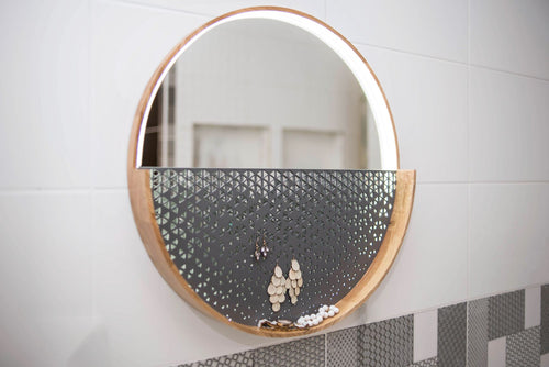 Mirror with lights Round Decorative Wall Mirror wood circle mirror wall mirror with controllable light brightness Jewelry organizer - EWART WOODS