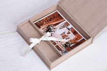 Load image into Gallery viewer, Linen fabric USB Box (without usb ) Print & USB Flash Drive Box personalize flash drive photo box gift wedding box Proof Box for photography - EWART WOODS