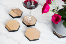 Load image into Gallery viewer, Coaster glass coaster hexagonal wooden coaster drink coaster for glass coaster natural wood coaster hardwood - EWART WOODS