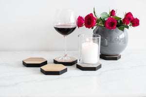 Coaster glass coaster hexagonal wooden coaster drink coaster for glass coaster natural wood coaster hardwood - EWART WOODS