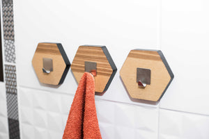 Towel hook coat hook wood wall hook bathroom towel rack modern bathroom hanger wall hanger coat hanger Bathroom Storage Wall Mount-Honeycomb - EWART WOODS