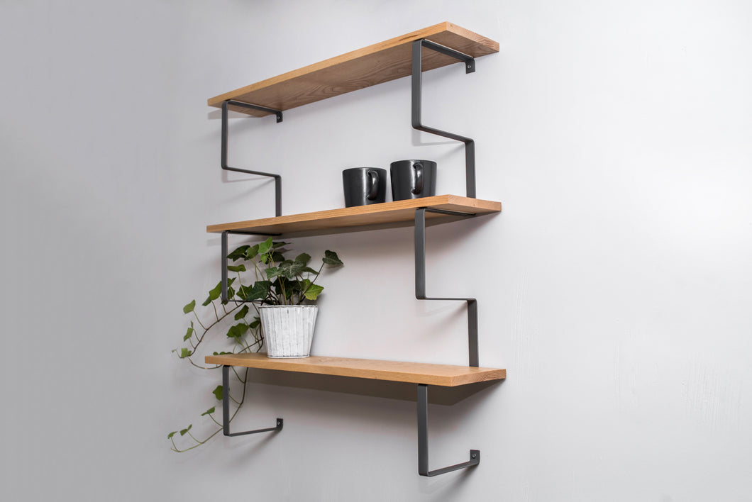 Wooden wall shelf with metal construction