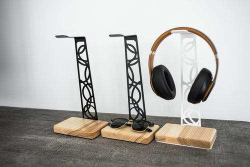 Metal and Wood Headphone Holder
