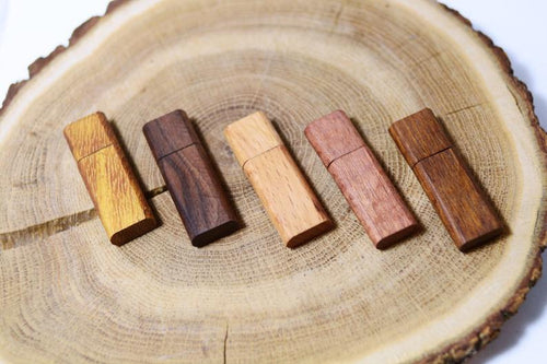 Wooden usb flash drive oval side