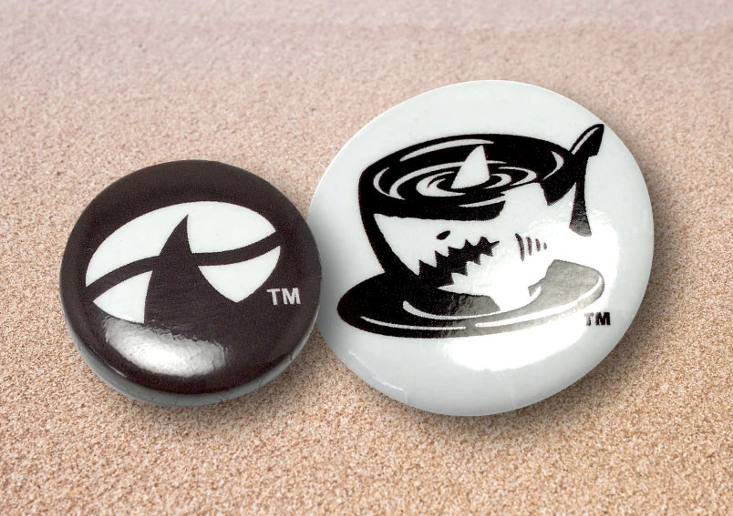 Brown and White Java Jaws Buttons pins