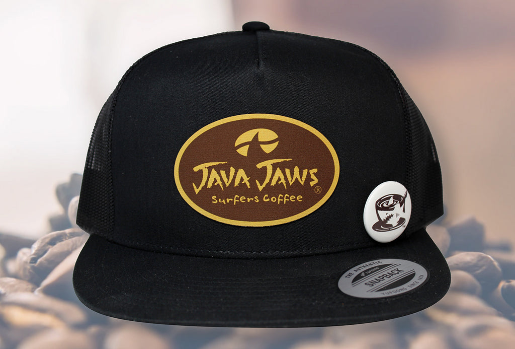 java jaws black trucker hat classic yupoong patch