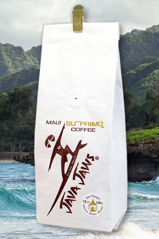 java jaws maui suprimo coffee whole bean roast white bag
