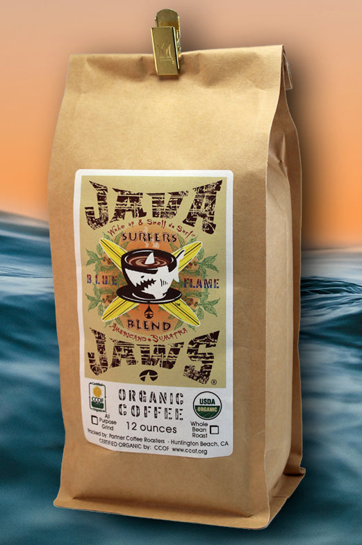 java jaws surfers blend organic coffee brown bag