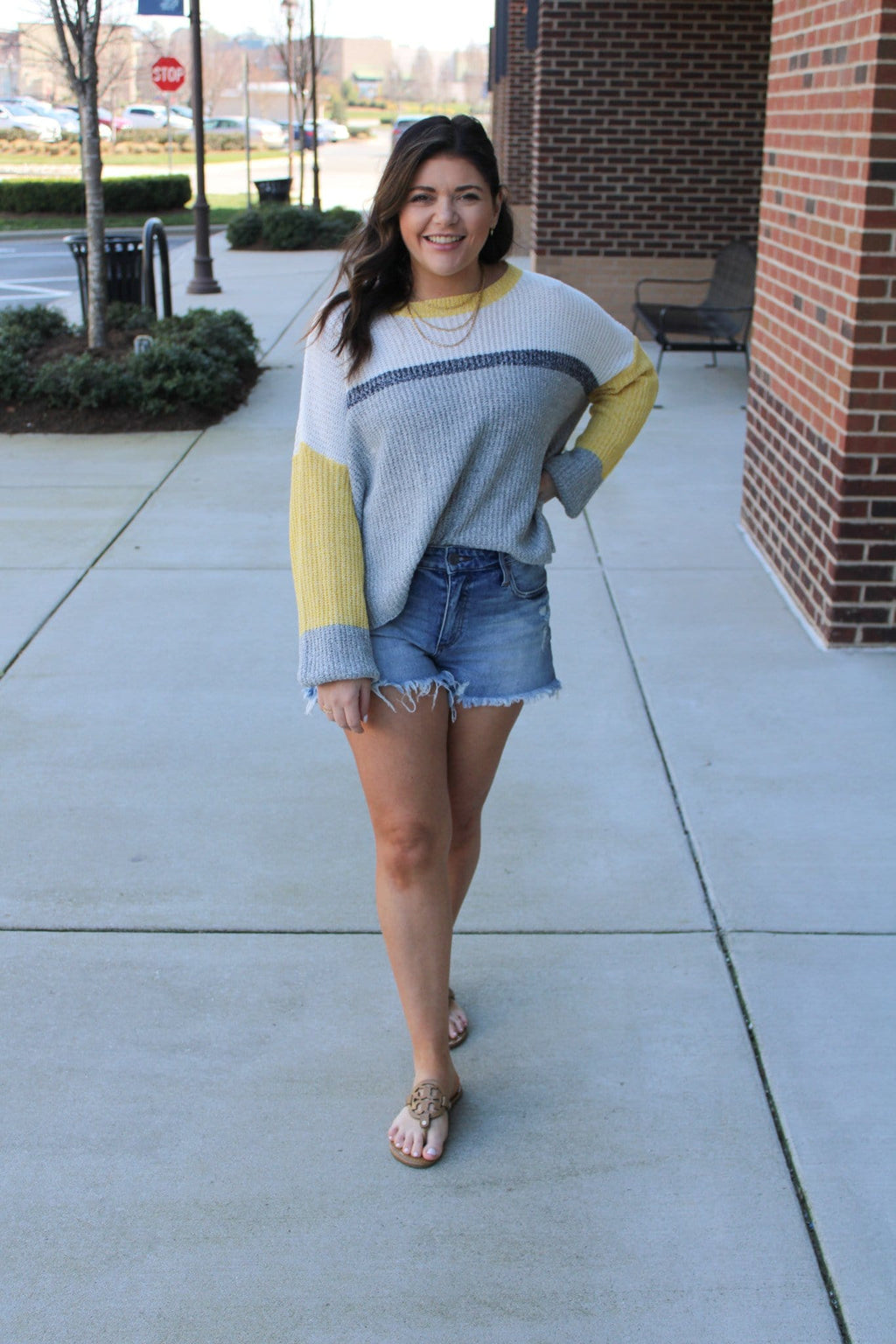 Adventure Colorblock Sweater, Yellow