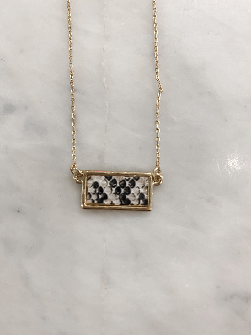 Snake Leather Rectangle Necklace