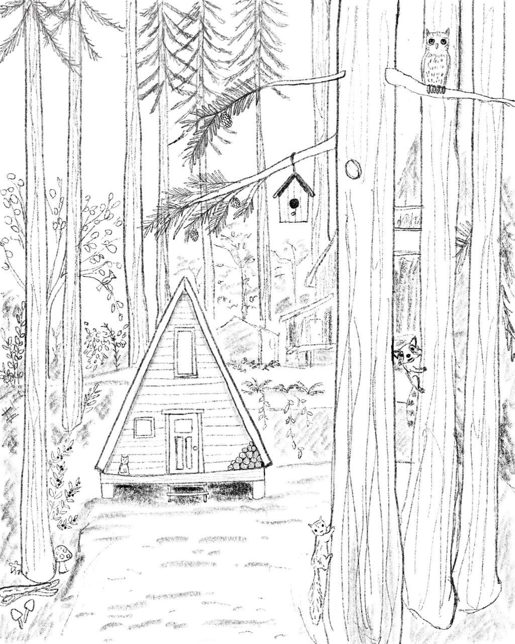 A-Frame in the Forest Coloring Page