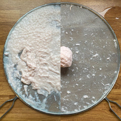 An image split in half; on the left, pulp over a mesh sieve, and on the right the same pulp squeezed into a ball.