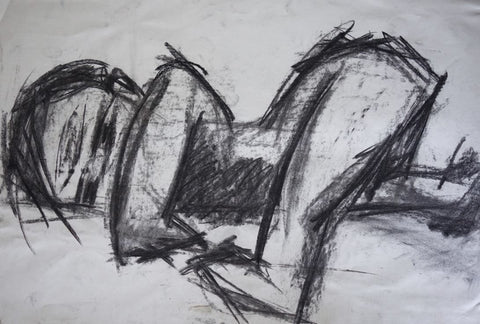 Baby Crawling Charcoal Drawing 1987 by Stephanie Fuller