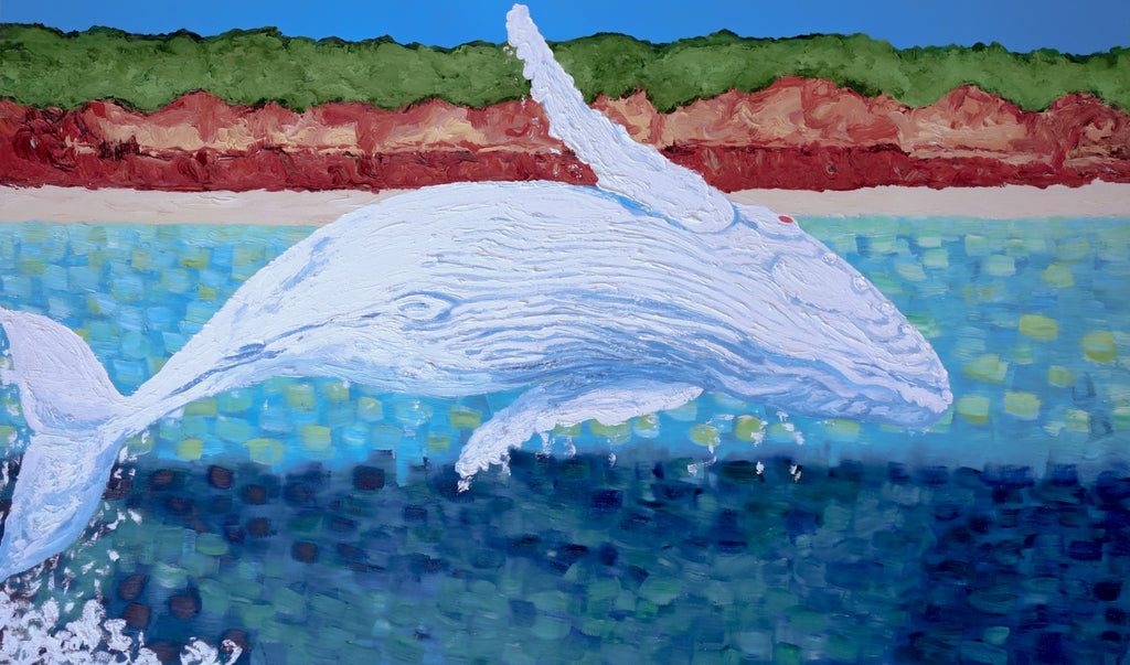 Migaloo Jumping Oil painting by Stephanie Burns