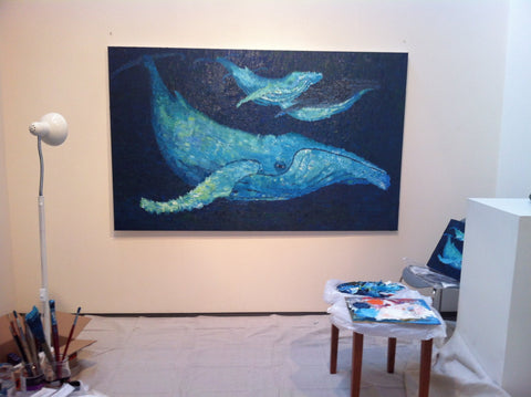 The Beauty of Whales Oil Painting of Migaloo in progress by Stephanie Burns