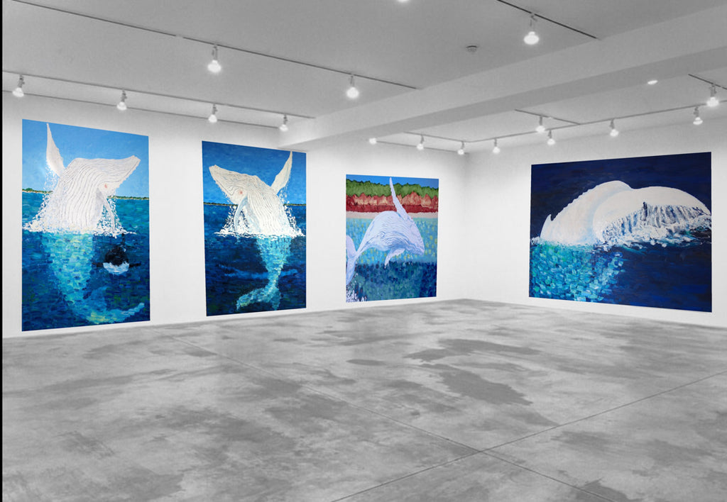 Whale Paintings Migaloo by Stephanie Burns