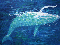 Migaloo Slapping small Oil Painting by Stephanie Fuller