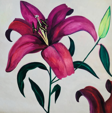 Lilies Oil Painting by Stephanie Burns