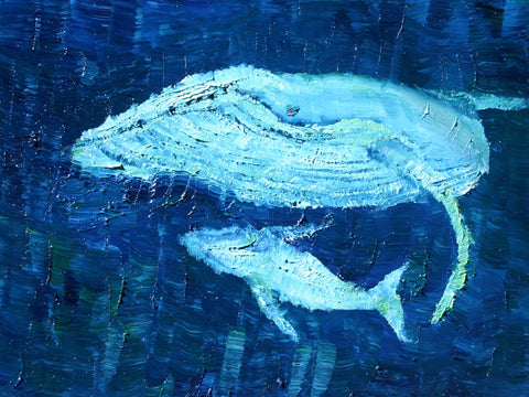 Migaloo and Calf Play Oil Painting by Stephanie Burns