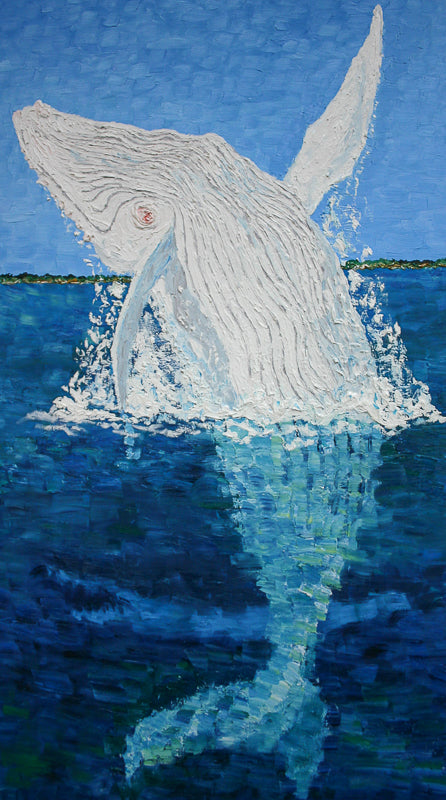 Migaloo and Shark Painting by Stephanie Fuller