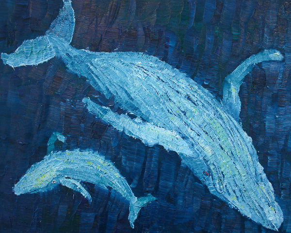 Migaloo and Calf Painting by Stephanie Fuller