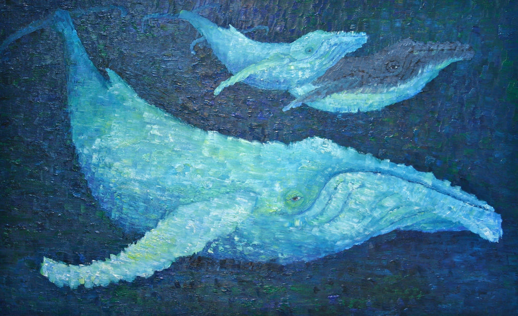 The Beauty of Whales Oil Painting by Stephanie Burns