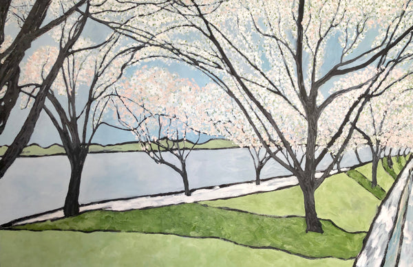Cherry Tree Walk painting by Stephanie Fuller