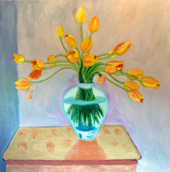 Vase Of Tulips Painting By Stephanie Burns