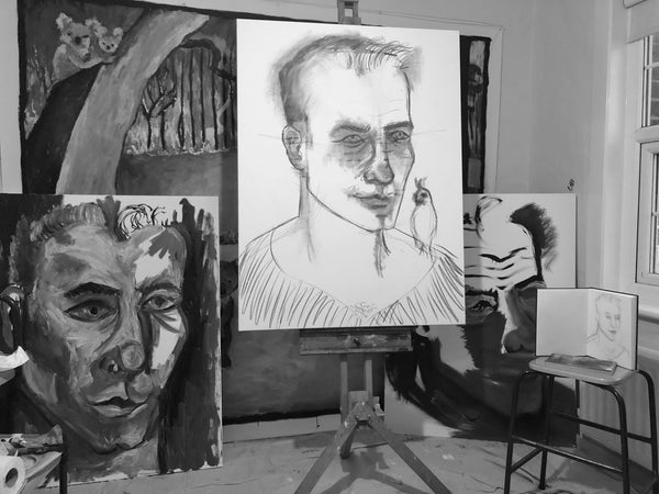 Portraits of Laurence Fuller in progress by Stephanie Burns