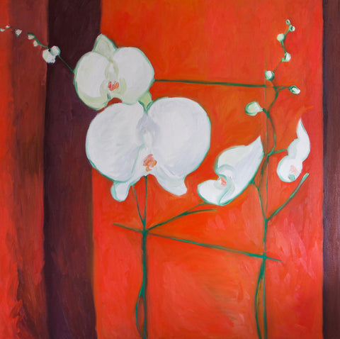 Orchids Oil Painting by Stephanie Burns