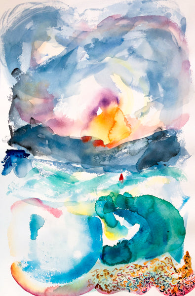 Sunrise Over The Sea Watercolour Painting by Stephanie Fuller