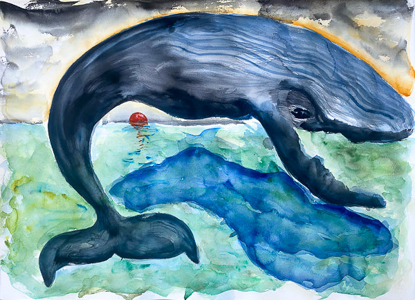 Whale Sunrise Painting by Stephanie Fuller