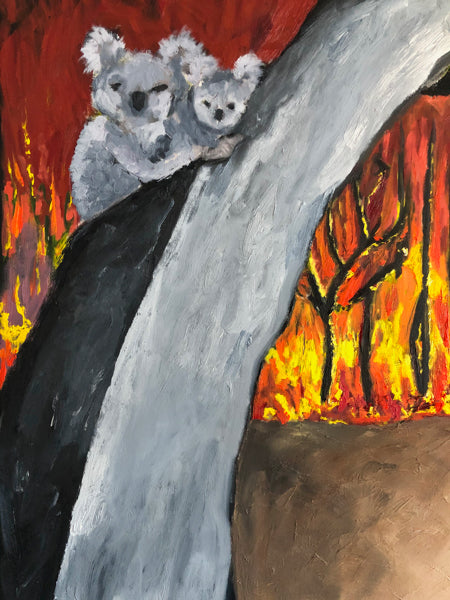 Koalas and Bushfire Painting Details by Stephanie Fuller