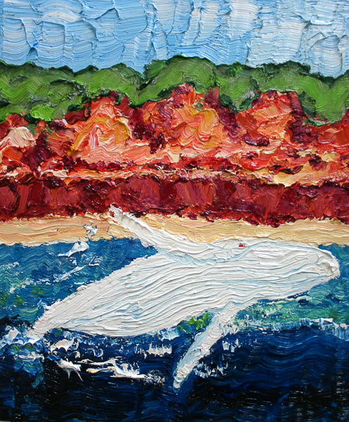 Albino Humpback Whale Calf Painting by Stephanie Fuller