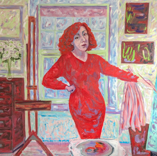 The Artist In A Red Dress Self Portrait Painting by Stephanie Fuller Artist
