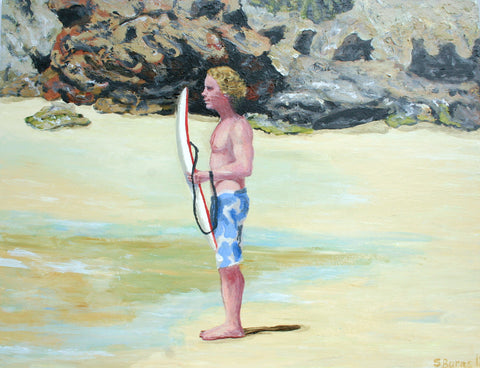 Boogie Boarding Painting Of Laurence Fuller by Stephanie Fuller