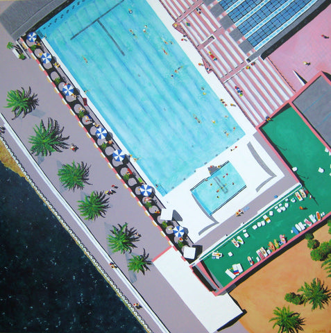 Sydney Olympic Pool Painting by Stephanie Burns