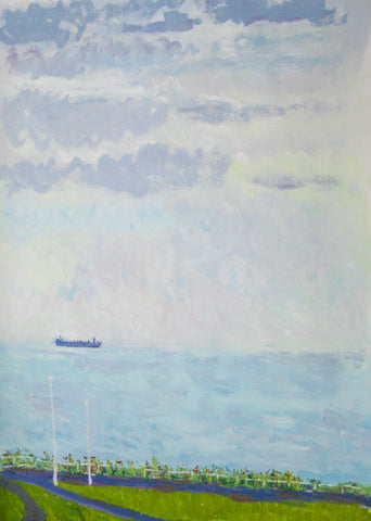 Margate view from the window 2014, Stephanie Burns, Acrylic on paper 39 x 57 cm
