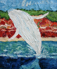 Migaloo Breaching Left Painting by Stephanie Fuller