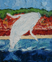 Miglaloo Breaching Right Painting by Stephanie Burns