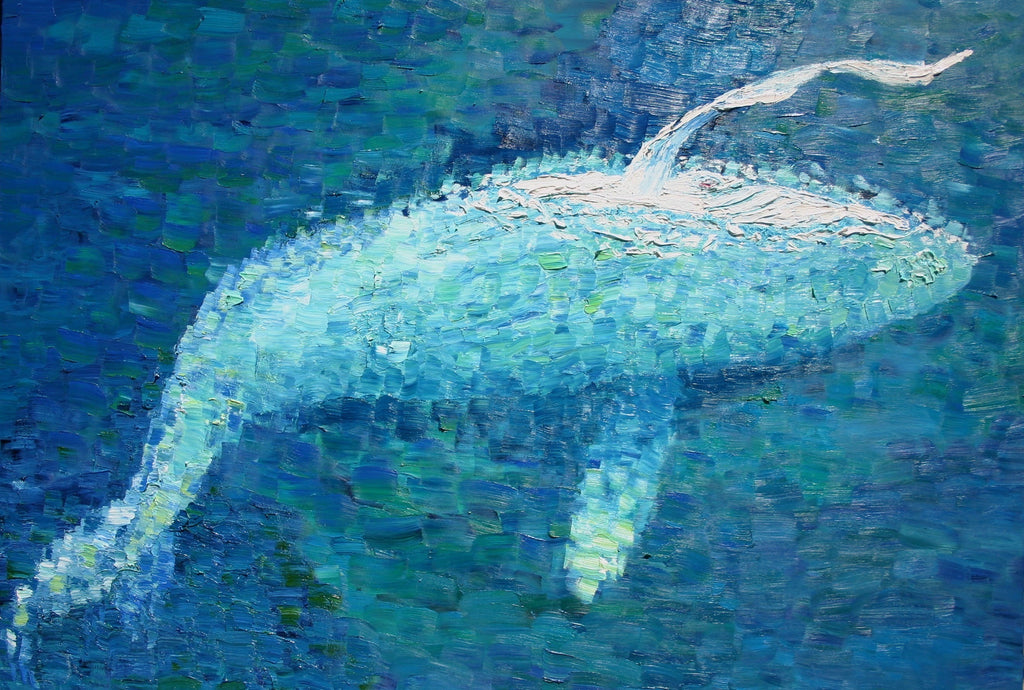 Migaloo Slapping Oil Painting by Stephanie Burns